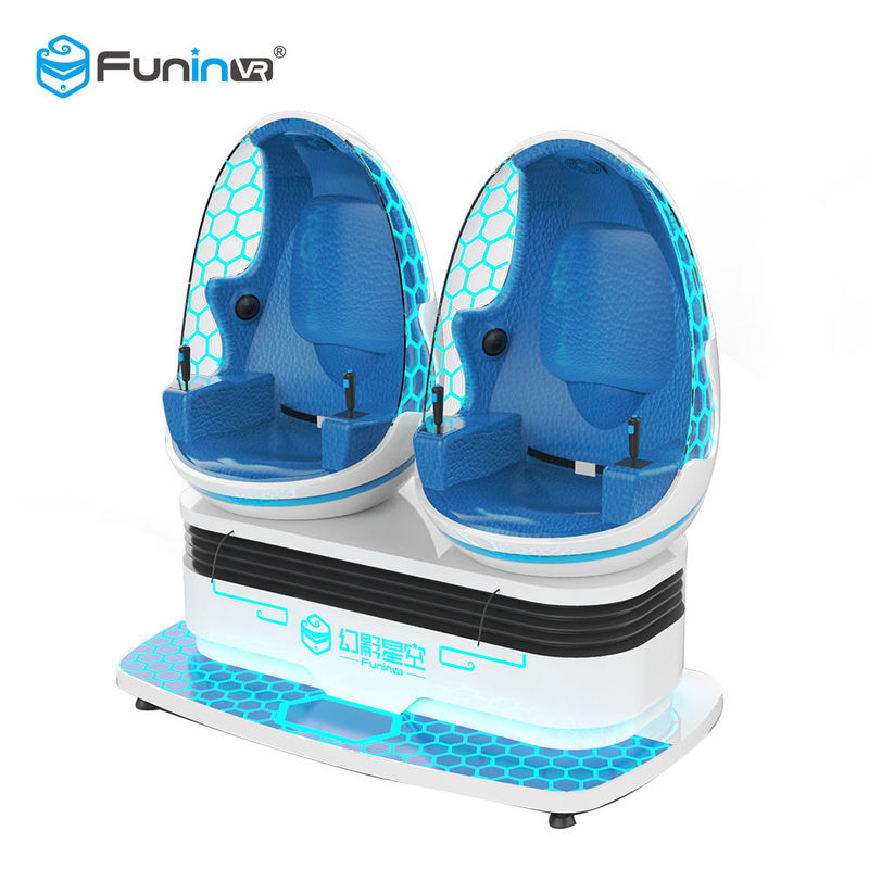 Blue White Color Two Seats 9D VR Ride Cabin Cinema Virtual Reality simulator For Kids Amusement Park​